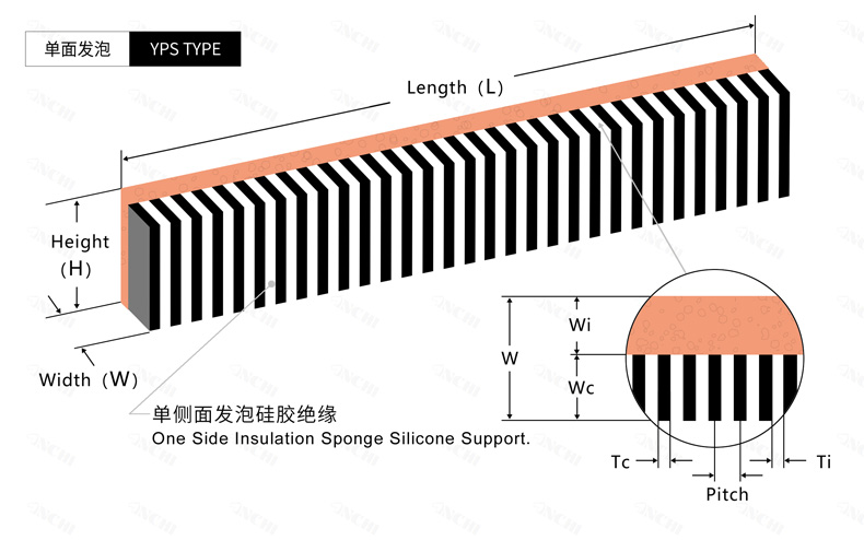 单面发泡Silicone Rubber Zebra Inter-Connector YPS Type工程设计图